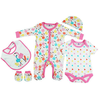 5 PC Baby Girls Clothing Layette Gift Set Cute Flamingo Hearts Theme in Pink