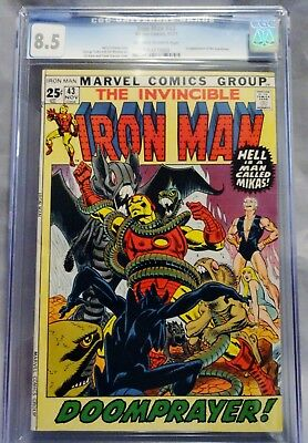 The Invincible Iron Man #43 Cgc Graded 8.5 11/71 Off-White To White Pages