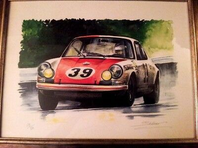 Lot of 2 Porsche art prints : 911 R and 356, SPA and Mille Milglia