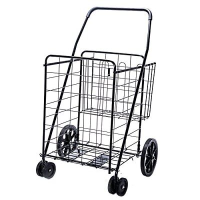 Jumbo Deluxe Folding Shopping Cart with Dual Swivel Wheels and Double Basket-...