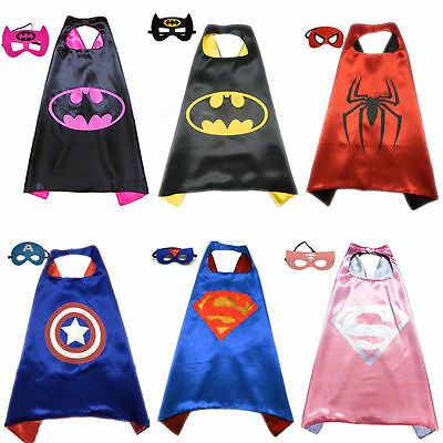 &Boy and Girl Party Superhero Cape & Mask Costume Set Spiderman Batman Superman&