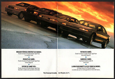 1993 CHRYSLER Vintage Original 8-pages Print AD Centerfold French Canada Eagle