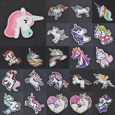 Embroidered Unicorn Patches For Clothes Sew On Iron on Sequin Applique DIY Craft