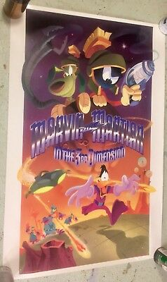 """Rare Marvin The Martian In The 3rd Dimension  24"""" x  36"""" Movie/ Ride Poster"""
