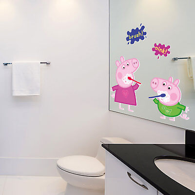 Peppa and George brushing teeth wall sticker | Official Peppa Pig wall stickers