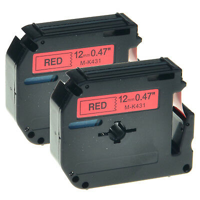 """2 PK MK 431 M-K431 Black on Red Label Tape for Brother P-Touch PT-45M 1/2"""" 12mm"""