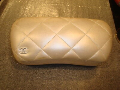 Vintage Cream Chanel Quilted Hard Sunglasses Case Leather Authentic