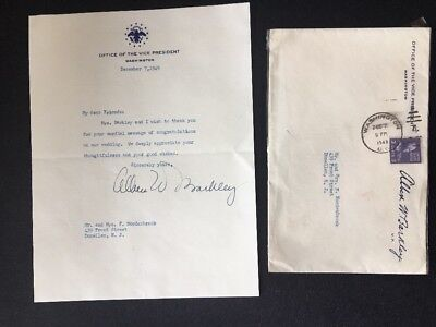 Vice President ALBEN W. BARKLEY SIGNED 12/7/49 Typed Thank You Note W/ Envelope