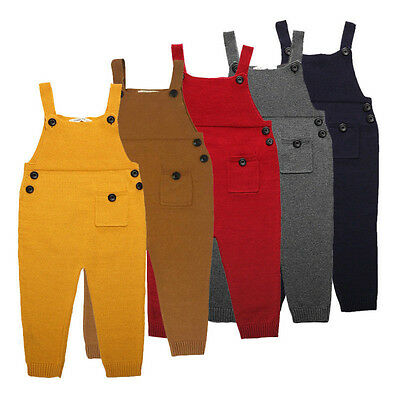 Baby Kids Boys Girls Knit Suspender Trousers Long Bids Pants Overalls Fashion