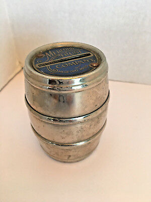 Vntg Medford Trust Co. Silvertone Metal Barrell Bank
