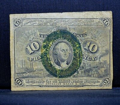 10C Fractional Currency ✪ 2Nd Issue ✪ Fine F L@@k Now Washington W16 ◢Trusted◣