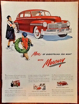 Mercury auto ad 1947 orgnl vintage 1940s print classic red car wreath Christmas
