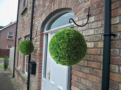2 Best Artificial 40cm Lush Long Leaf Boxwood Buxus Topiary Grass Hanging Balls