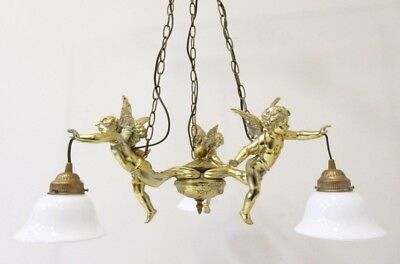 French 1960 BRASS gold gilt 3 putti angels chandelier pendant opaline glass