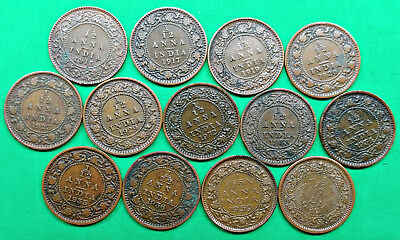 Lot of 13 Different British India 1/12 Anna Coins 1915-1939 Vintage Empire !!
