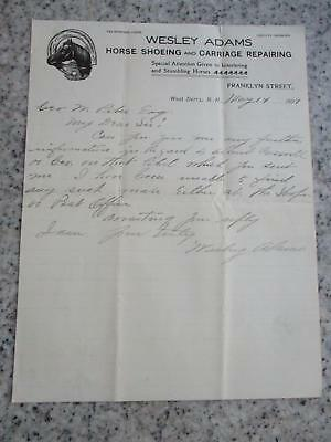 1909 Advertising Letterhead Wesley Adams Horse Shoeing Carriage Repair  Derry Nh