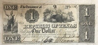 Scarce Republic Of Texas 1841 $1 Note -With Cuts