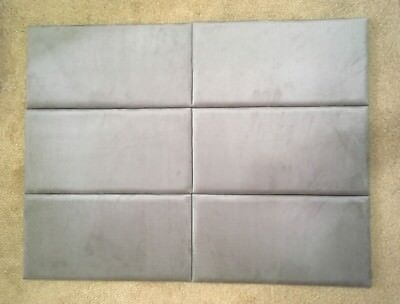 UPHOLSTERED PADDED WALL PANEL / COVERINGS GREY DECORATION HEADBOARD 60cm x 30cm