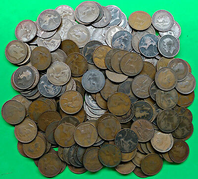 Vintage Lot of 218 Old British Large Penny Coins 1902-1949 Great Britain !!