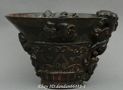 Collect Chinese old ox horn cup carve beast pixiu brave troops lucky cup statue