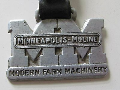 Original Vtg Farm Advertising Minneapolis Moline Watch Fob Aluminium Modern