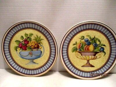 """2 Royal Garden 8"""" Bone China Decorative Fruit Compote Plates Made in England"""