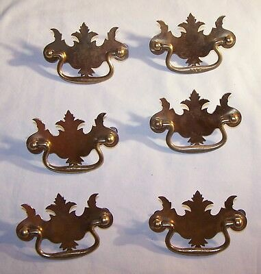6 Vintage Antique Brass Handle Pulls Dresser Drawer Cabinet Pulls and Covers