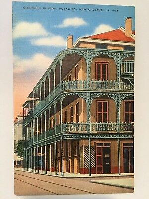 Postcard Lacework in Iron St. Peter & Royal St street old New Orleans LA A2