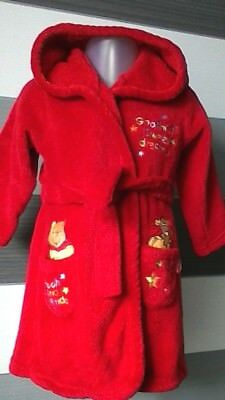 Baby Red Hooded Dressing Gown Robe Disney Winnie the Pooh 6-9 months