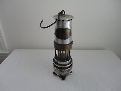 Antique SPIRALARM Mining Miners Safety Lamp Lantern with Red glass base