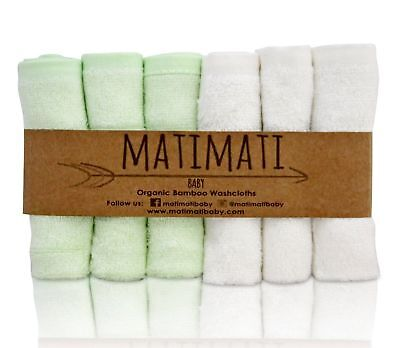 MatiMati Baby Washcloths Organic Bamboo EXTRA SOFT Premium Reusable 6 count