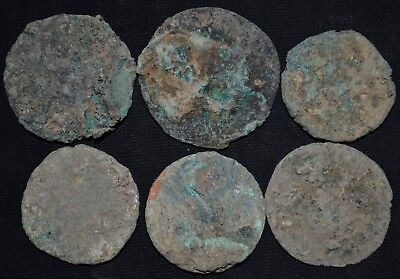 Group of 6 Ancient Roman LARGE Bronze coins, c 250-350 AD. Metal Detector Finds
