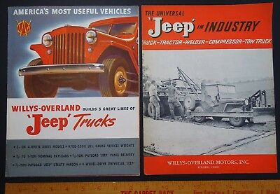 RARE 2 Vintage Advertising Catalogs Antique Dealer Brochures - JEEP TRUCKS 1947