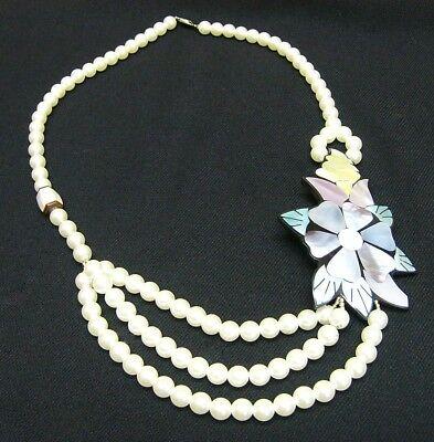 Faux Pearl Necklace With Mother Of Pearl Accent