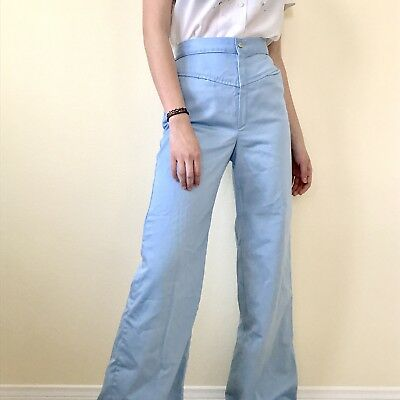 Vintage 1970s Baby Blue Bell Bottoms Flare Pants
