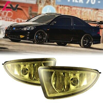 For 2004-2005 Honda Civic Fog Lights (Wiring, Switch, and Bezels) Yellow Lens