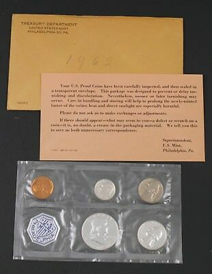 1962 P United States Mint Silver Proof 5 Coin Set Philadelphia Sealed Cellophane