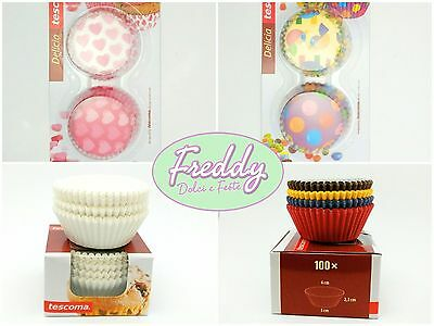 set pirottini da 6 cm in carta da forno tescoma per muffin cupcake cake design