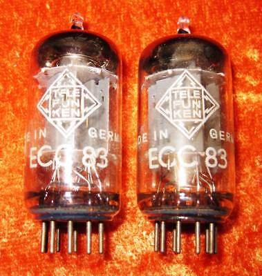 """2x Telefunken ECC83 <> long smooth plates – matched pair – tested """"good"""""""