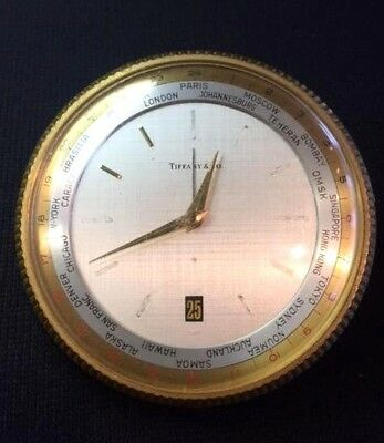 """Tiffany & Co. Vintage Brass Desk Swiss Made 4.5"""" Clock, Parts/Repair  NO RESERVE"""