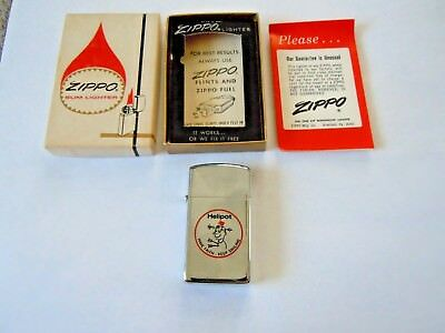 New 1960's ZIPPO Advertising HELIPOT DIVISION Cigarette Pipe LIGHTER & BOX