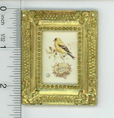 Dollhouse Miniature Gold Framed Picture of Colorful Bird w/Nest