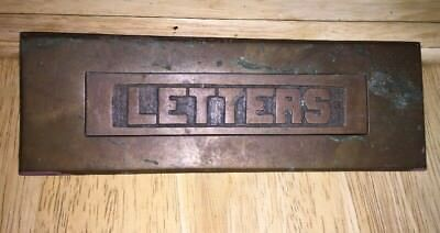 Antique Brass LETTERS Mail Slot 2 Piece Spring Hinge Salvage As Found