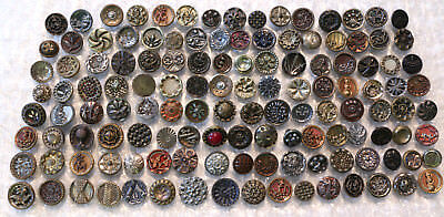 128 Antique Medium Fancy Victorian Mixed Metal Sewing Buttons Floral, Picture +