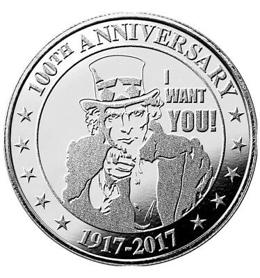 """Highland Mint Uncle Sam """"I Want You"""" 100th Anniversary 1oz Silver Round SKUUS1"""