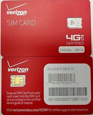 NEW OEM •  VERIZON NANO 4FF SIM Card • CDMA 4GLTE • Prepaid or Contract