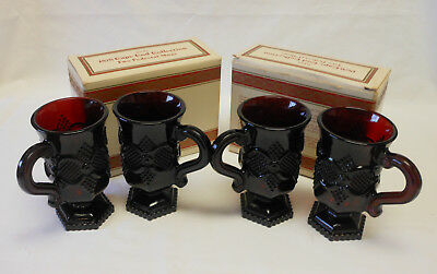 """Avon Cape Cod Ruby Red Set Of 4 Pedestal 5"""" Tall Mugs With Boxes"""