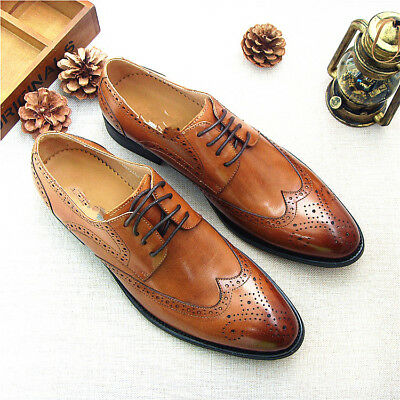 New Mens Leather lace up Wing Tip oxford formal Dress Shoes boots US Size 10.5