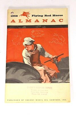 1958 Flying Red Horse Almanac Book Socony Mobil Gas Tractor Yuba City Ex Cond