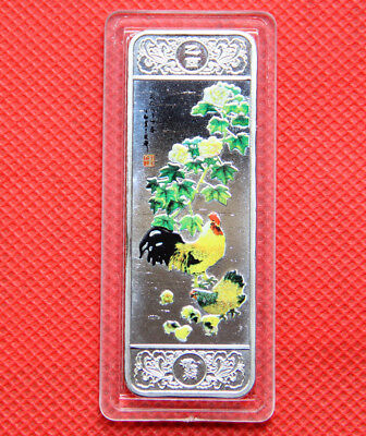 Exquisite Chinese Lunar Zodiac Year of the Cock  Large Art Silver Bar